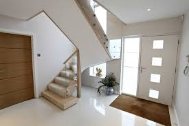 contemporary stair made from maple and glass with stainless steel