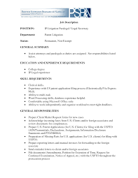 Job Description Resume Intern by Resume For Legal Assistant With No Experience Free Law Sample