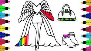 how to draw girls dresses rainbow accessories for girls art