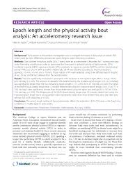 Sho Epoch epoch length and the physical activity pdf available
