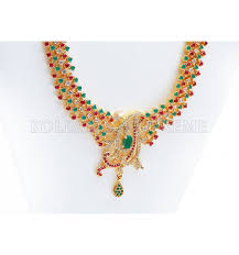 buy one gram gold plated ad ruby emerald necklace set