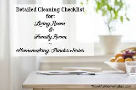 living room checklist cleaning checklists archives thankful homemaker