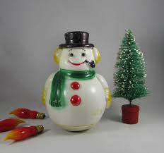 snowman roly poly toy plastic blow mold christmas decoration