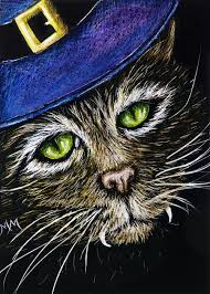 aceo cards for sale aspen sale aceo orig scratchboard cat witch