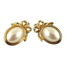 iconic earrings christian vintage iconic medallion ribbon and faux pearl
