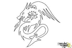 how to draw a dragon tribal tattoo drawingnow