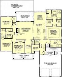 3 Bedroom Open Floor House Plans House Plan 40026 Total Living Area 1492 Sq Ft 3 Bedrooms U0026 2