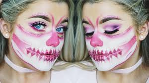 half halloween makeup half face pink glitter skull halloween make up tutorial rachel