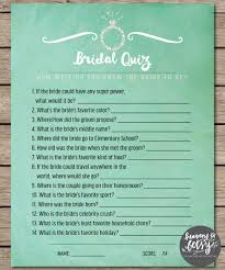 mint watercolor bridal quiz bridal shower u0026 wedding game