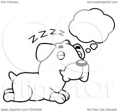 cartoon of a black and white cute rottweiler puppy dog dreaming