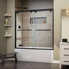 black bathtub doors shower doors the home depot frameless sliding tub door in satin black