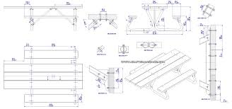 Picnic Table With Benches Plans Picnic Table Plans