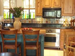 old blue teal kitchen island with seating and black furniture