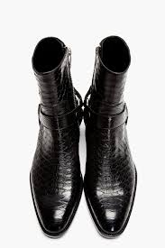 harness biker boots love these saint laurent black pythonskin wyatt harness biker