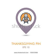 thanksgiving pin roasted chicken turkey ready thanksgiving mapping stock vector