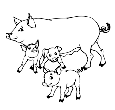 pig mother and baby pigs coloring page free printable coloring pages