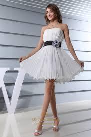 ivory dress with black belt short strapless chiffon bridesmaid