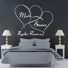 sticker mural chambre client fait personnalisé ensemble pour toujours coeurs chambre