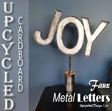 metal decorative letters home decor upcycled cardboard faux metal letters holiday decoration joy