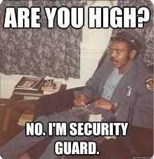 It Security Meme - are you high no i m security guard high security guard guy