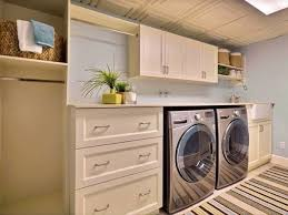 Basement Ideas For Small Spaces Basement Ideas Laundry Room White Blue Colors Storage Drawers