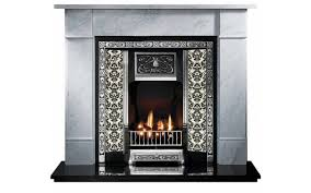 highlighted tiled fireplace and flat victorian marble fireplace