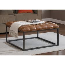 leather and metal ottoman carbon loft healy teal leather tufted ottoman free shipping today