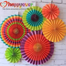 cheap paper fans one set colorful paper fans wheel disc birthday kids party