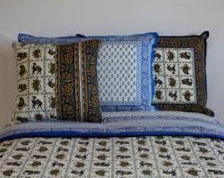 Blue And White Comforter Animal Print Bedding Etsy