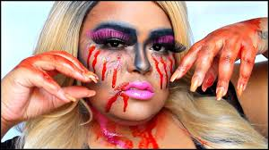 Halloween Scary Makeup Tutorial by Scary Bloody Barbie Halloween Makeup Tutorial Brianaleebeauty