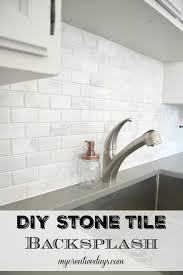 kitchen makeover diy stone tile backplash my creative days