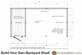 shed layout plans 12x24 run in shed and tack room plans