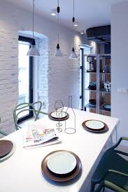 beautiful pendant lamp ideas for elegant dining room webbo media white brick wall plus contemporary small pendant lighting and comfortable white dining table design