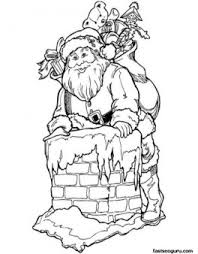 printable santa claus chimney coloring pages