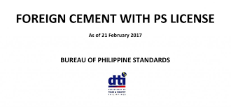 bureau ps dti releases list of foreign cement with ps license iligan city