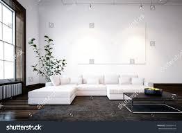 large spacious modern minimalist living room stock illustration