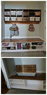 amazing bench with hooks and storage for shoes so they aren u0027t all