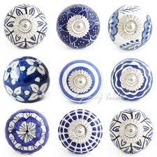 Decorative Dresser Knobs Blue Indigo Ceramic Decorative Shabby Chic Cabinet Dresser