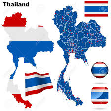 Thailand Round Flag Thailand Set Detailed Country Shape With Region Borders Flags