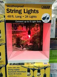 costco led string lights feit outdoor weatherproof string light set white 48 ft outdoor designs