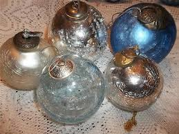 set 5 kugel style heavy crackle glass ornaments blue