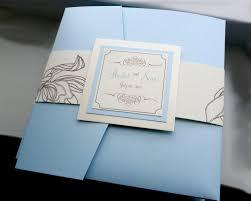 blue pocket wedding invitation destination invite blue and