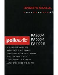 polk audio pa1100 5 owner s manual