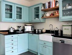 Turquoise Cabinets Kitchen Turquoise Kitchen Cabinets Cream Walls Wood Countertops Would