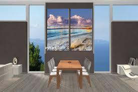 2 piece blue ocean sand canvas art prints