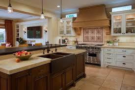 Gorgeous Kitchen Designs by Mediterranean Kitchen Design Dark Copper Tile In Sink Brown Marble