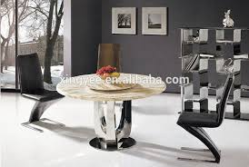 dining table with rotating modern dining room stainless steel table furniture glass marble