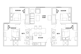 4 bed floor plans 4 bed 2 bath phase 1 cullen oaks student housing houston tx
