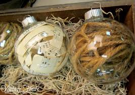 vintage finds sheet and twine ornaments