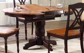 iconic furniture round oval pedestal dining table whiskey mocha